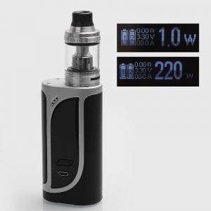 authentic-eleaf-ikonn-220-tc-vw-variable-wattage-box-mod-ello-sub-ohm-tank-kit-silver-black-1220w-4ml-2-x-18650